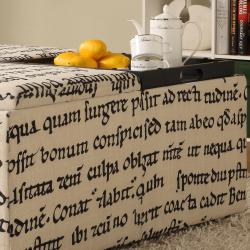 Decor Storage Latin Script Linen Ottoman - Thumbnail 2