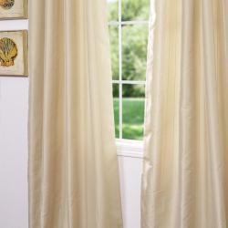 Exclusive Fabrics Grommet Striped Bone Faux Silk Jacquard 95-inch Curtain Panel