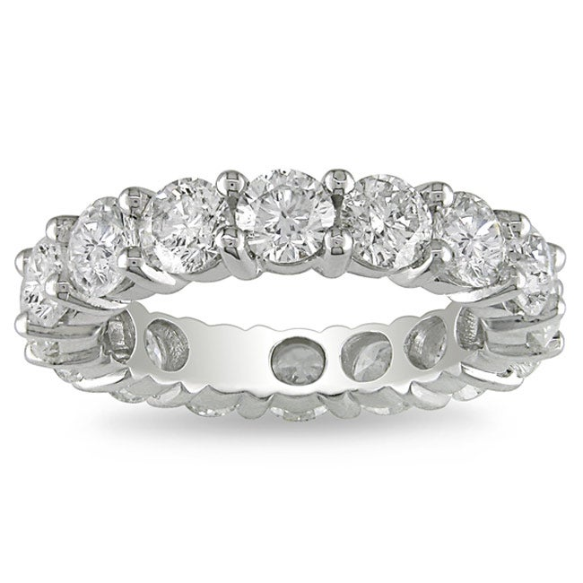 Miadora 18k White Gold 4ct TDW Diamond Eternity Ring (G-H, I1-I2) - Thumbnail 0
