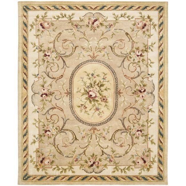 Safavieh Handmade Aubusson Beige Hand-spun Wool Rug (6' x 9')