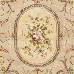 Safavieh Handmade Aubusson Beige Hand-spun Wool Rug (9' x 12') - Thumbnail 2