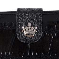 Adi Designs Women's Crown Accent Crocodile Print Wallet