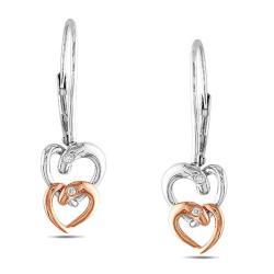 Miadora Two-tone Silver Diamond Accent Dangle Earrings
