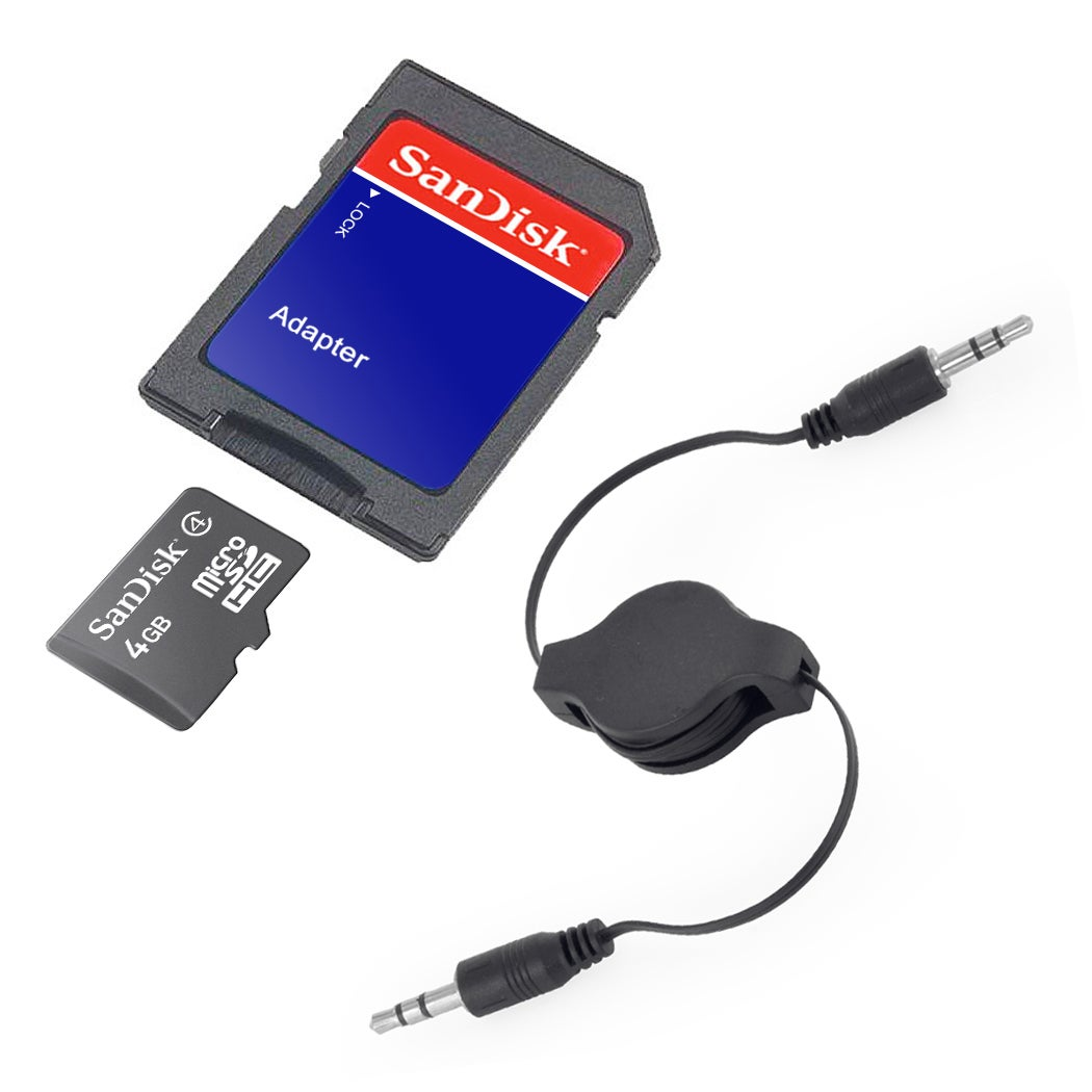 SanDisk 4GB Class 4 MicroSD Memory Card with SD Adapter and AUX Cable