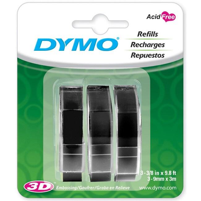 Dymo Caption Maker Black Tape Refills (Pack of 3)