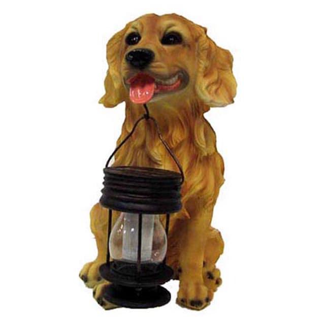 Golden Retriever Dog with Lantern Yellow Solar Light