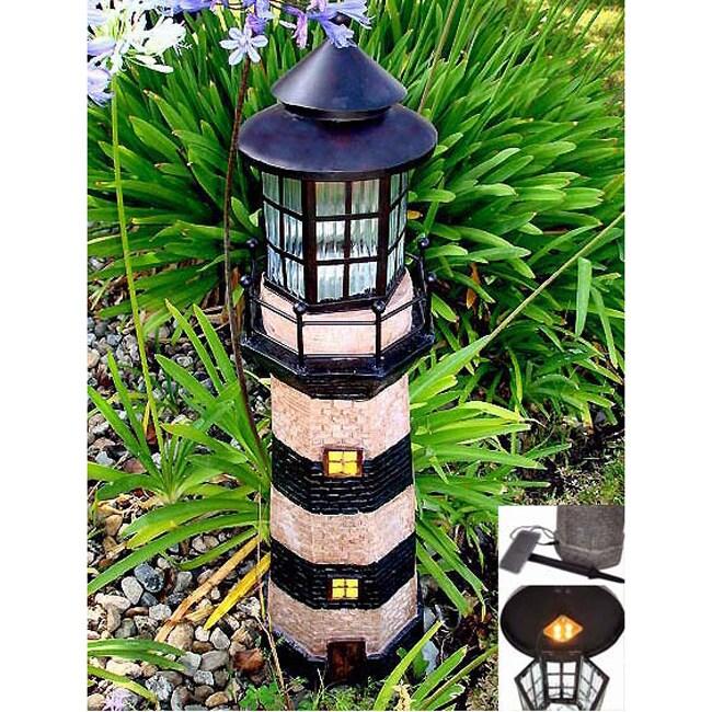 Green/ Ivory 3-foot Lighthouse Fiberglass Solar Light
