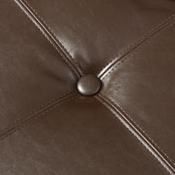Darlington Chocolate Brown Leather Ottoman by Christopher Knight Home