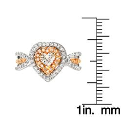 14k Two-Tone Gold 7/8ct TDW Diamond Heart Ring (G, SI1)