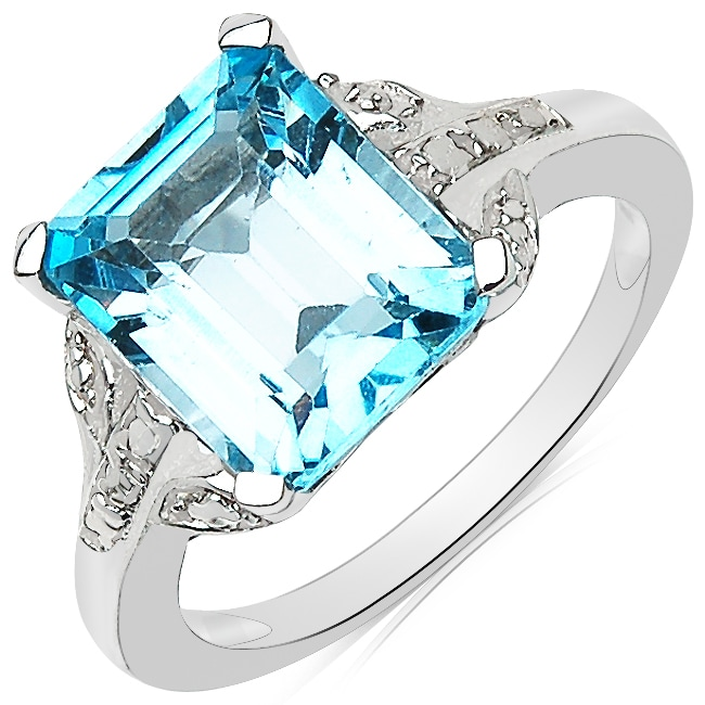 Sheila Kay Platinum Overlay Emerald-cut Blue Topaz Ring
