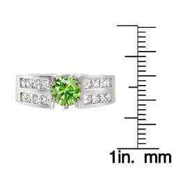 14k White Gold 1 7/8ct TDW Green and White Diamond Ring (G, VS2) - Thumbnail 2