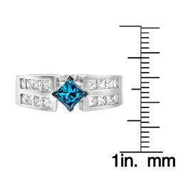 14k White Gold 1 2/3ct TDW Blue and White Diamond Ring (G, SI2) - Thumbnail 2