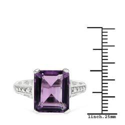 Sheila Kay Platinum Overlay Purple Amethyst Ring - Thumbnail 2