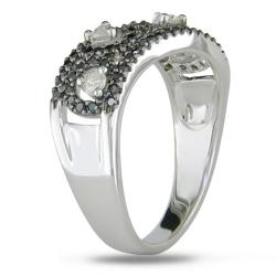 Miadora 14k White Gold 1/2ct TDW White and Black Diamond Ring