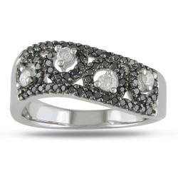 Miadora 14k White Gold 1/2ct TDW White and Black Diamond Ring