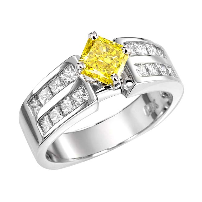 14k White Gold 2ct TDW Yellow and White Diamond Ring (G-H, SI1-SI2)