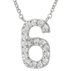Journee Collection Sterling Silver Number '6' Cubic Zirconia Necklace