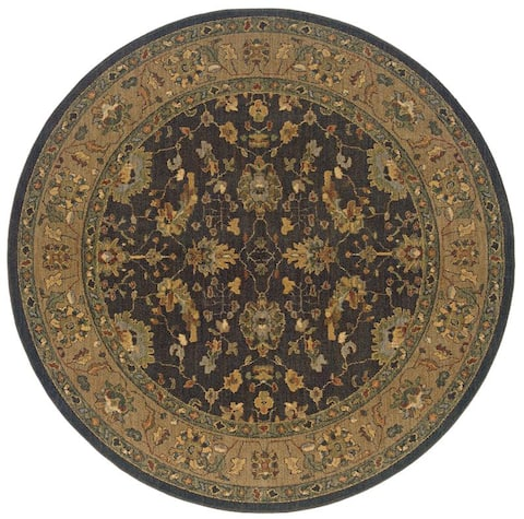 "Berkley Black/ Tan Traditional Area Rug (7'8 Round) - 7'8"" x 7'8"" rnd"