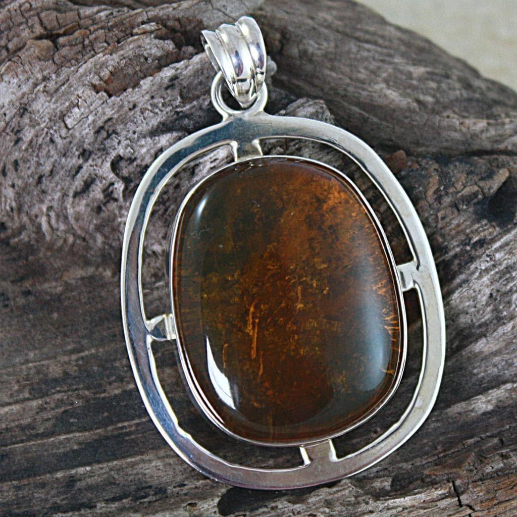 Sterling Silver Honey Amber Pendant (Poland)