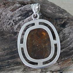 Sterling Silver Honey Amber Pendant (Poland) - Thumbnail 1