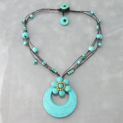 Handmade Reconstructed Turquoise Flower Rope Necklace (Thailand)