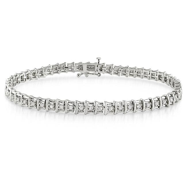 Sterling Silver 1ct TDW Diamond Tennis Bracelet