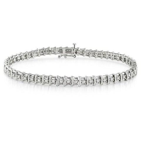 Sterling Silver 1ct TDW Diamond Tennis Bracelet