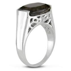 Sterling Silver Cushion-cut Smokey Quartz Ring