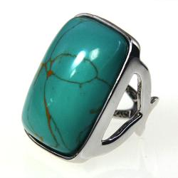 Adee Waiss Silvertone Magnesite Turquoise Ring