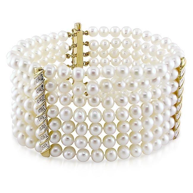 Miadora 14k Gold Freshwater Pearl and 3/8ct TDW Diamond Bracelet (G-H, I1) (5-6 mm)