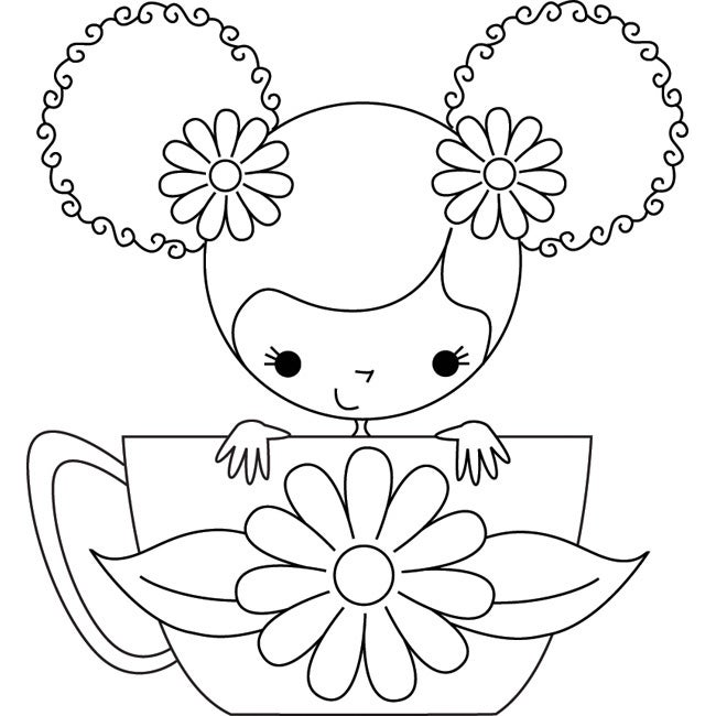 Stamping Bella 'Scarlett The Teacup Girl' Unmounted Rubber Stamp