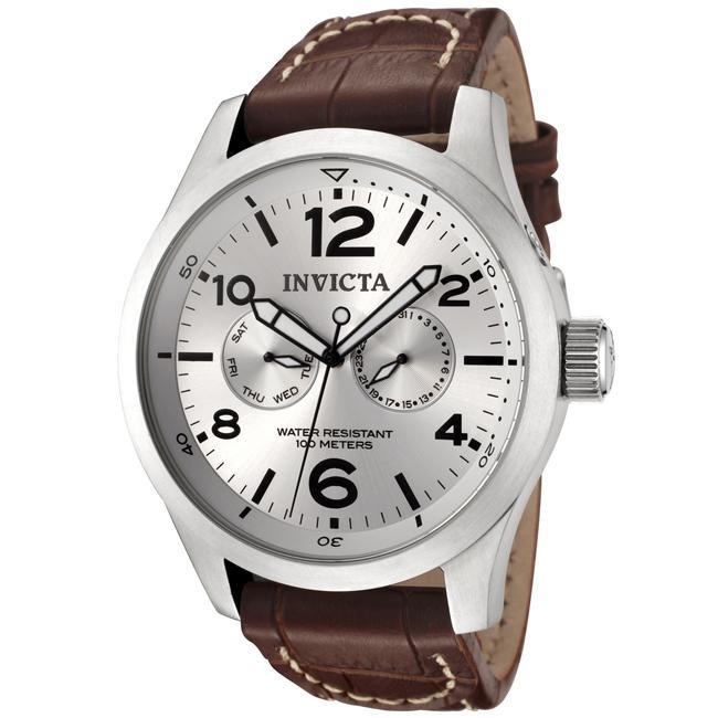 Invicta Men's 'Invicta II' Silver Dial Brown Calf Leather Watch