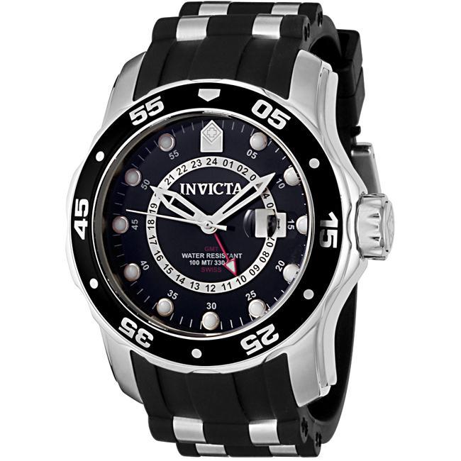 Invicta Men's 'Pro Diver' GMT Black Polyurethane Watch