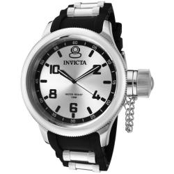 Invicta Men's 'Russian Diver' Silver Dial Black Polyurethane Watch