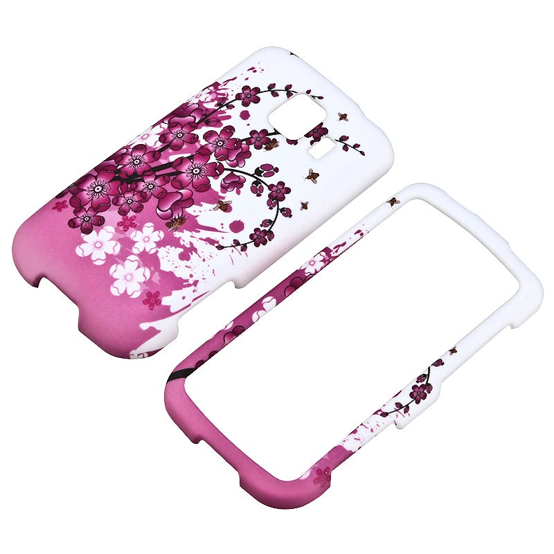 Pink Spring Flowers Snap-on Rubber Coated Case for LG Optimus S LS670