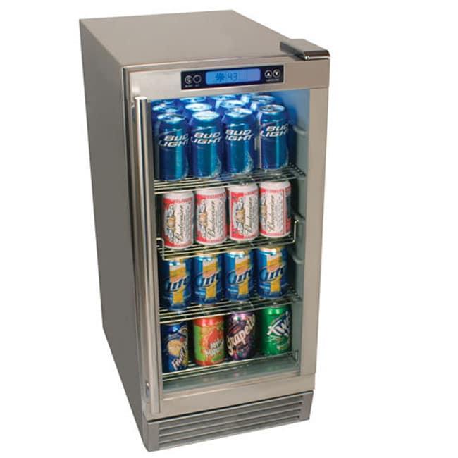 EdgeStar 84-can Stainless Steel with Glass Door Outdoor Beverage Refrigerator
