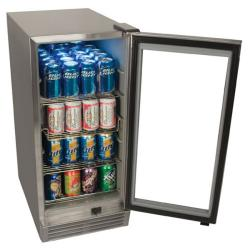EdgeStar 84-can Stainless Steel with Glass Door Outdoor Beverage Refrigerator - Thumbnail 1