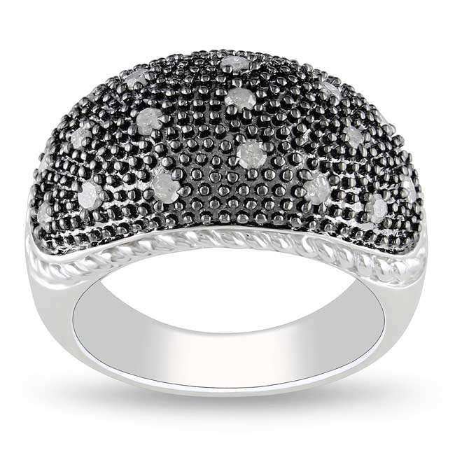 Miadora Sterling Silver 3/8ct TDW Diamond Ring