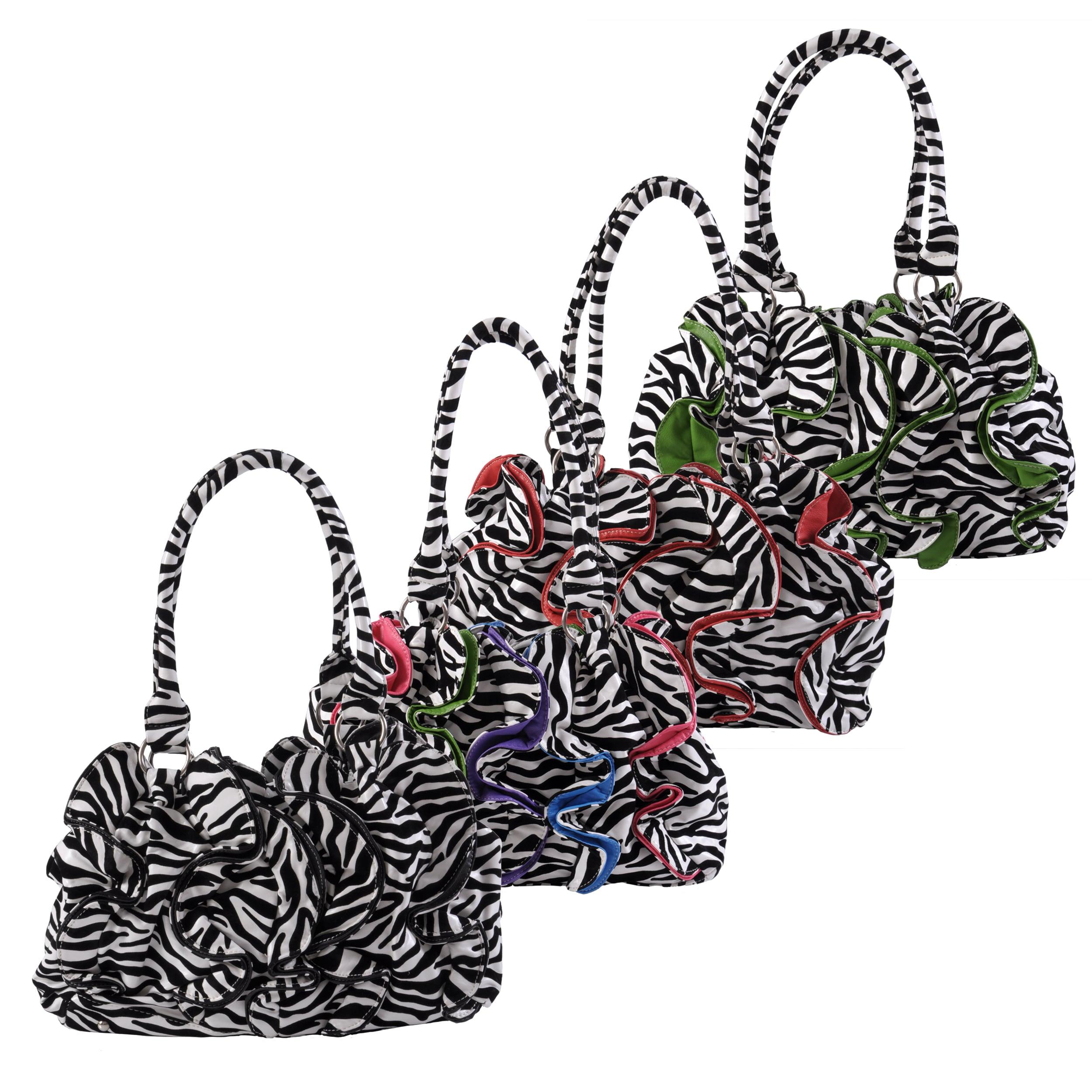 Journee Collection Women's Ruffled Zebra Print Slouchy Satchel