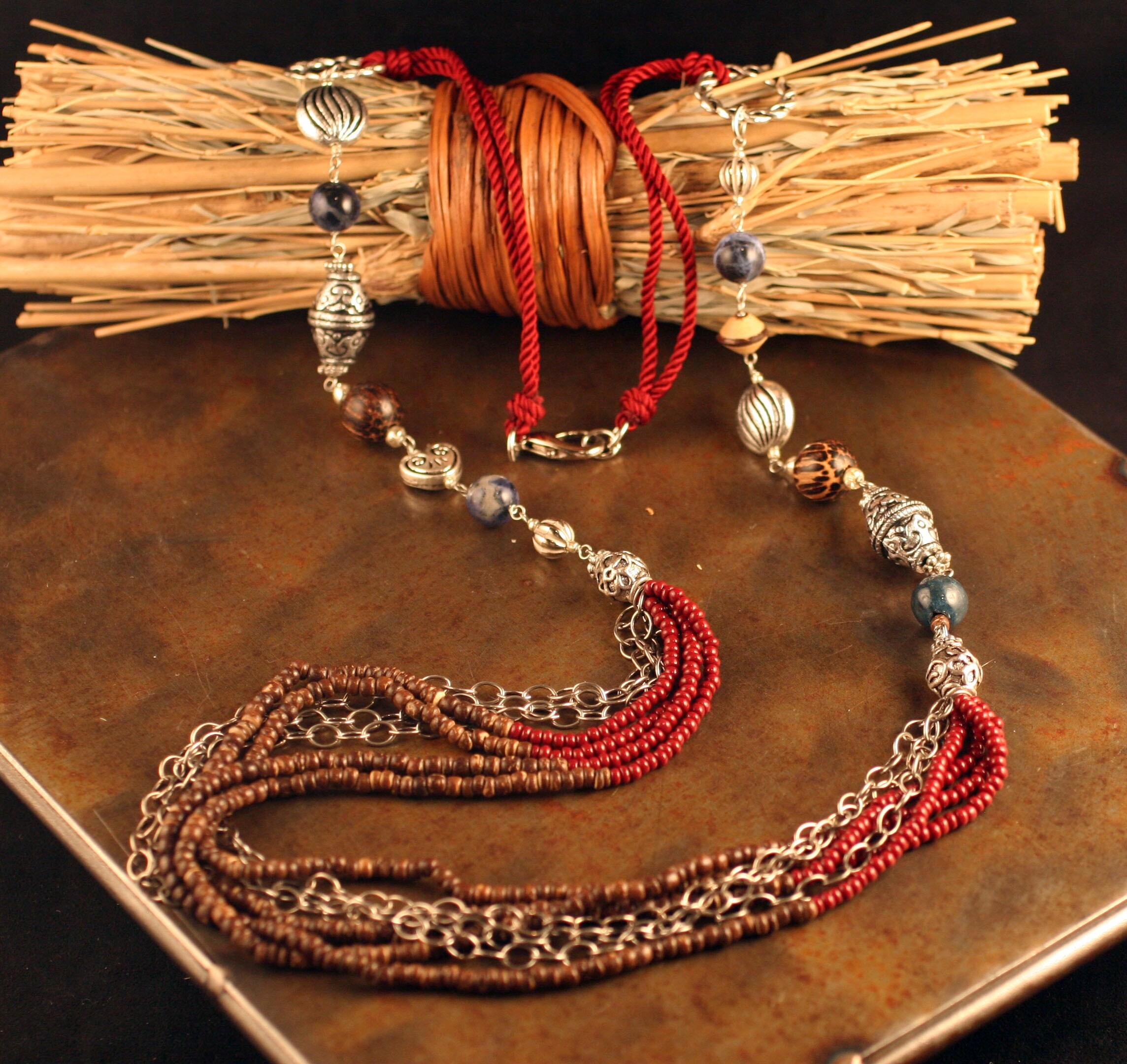 Peyote Bird Designs Long Bead Chain Necklace (China)