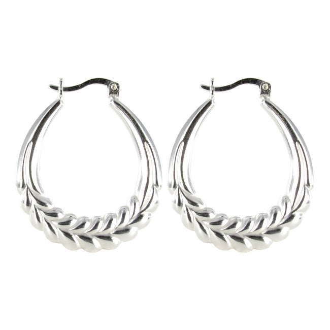 Sunstone Sterling Silver Polished Hoop Earrings
