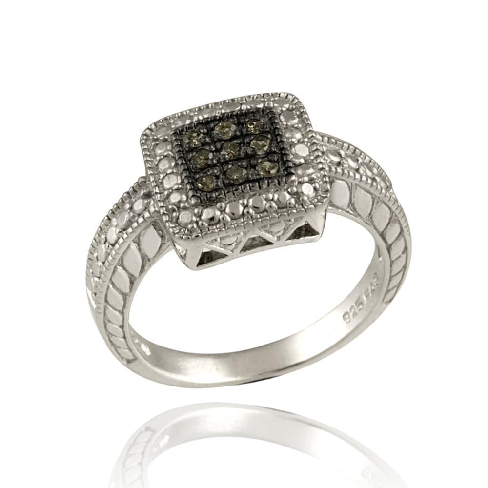 DB Designs Sterling Silver 1/10ct TDW Brown Diamond Square Ring