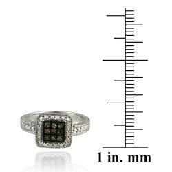 DB Designs Sterling Silver 1/10ct TDW Brown Diamond Square Ring - Thumbnail 2