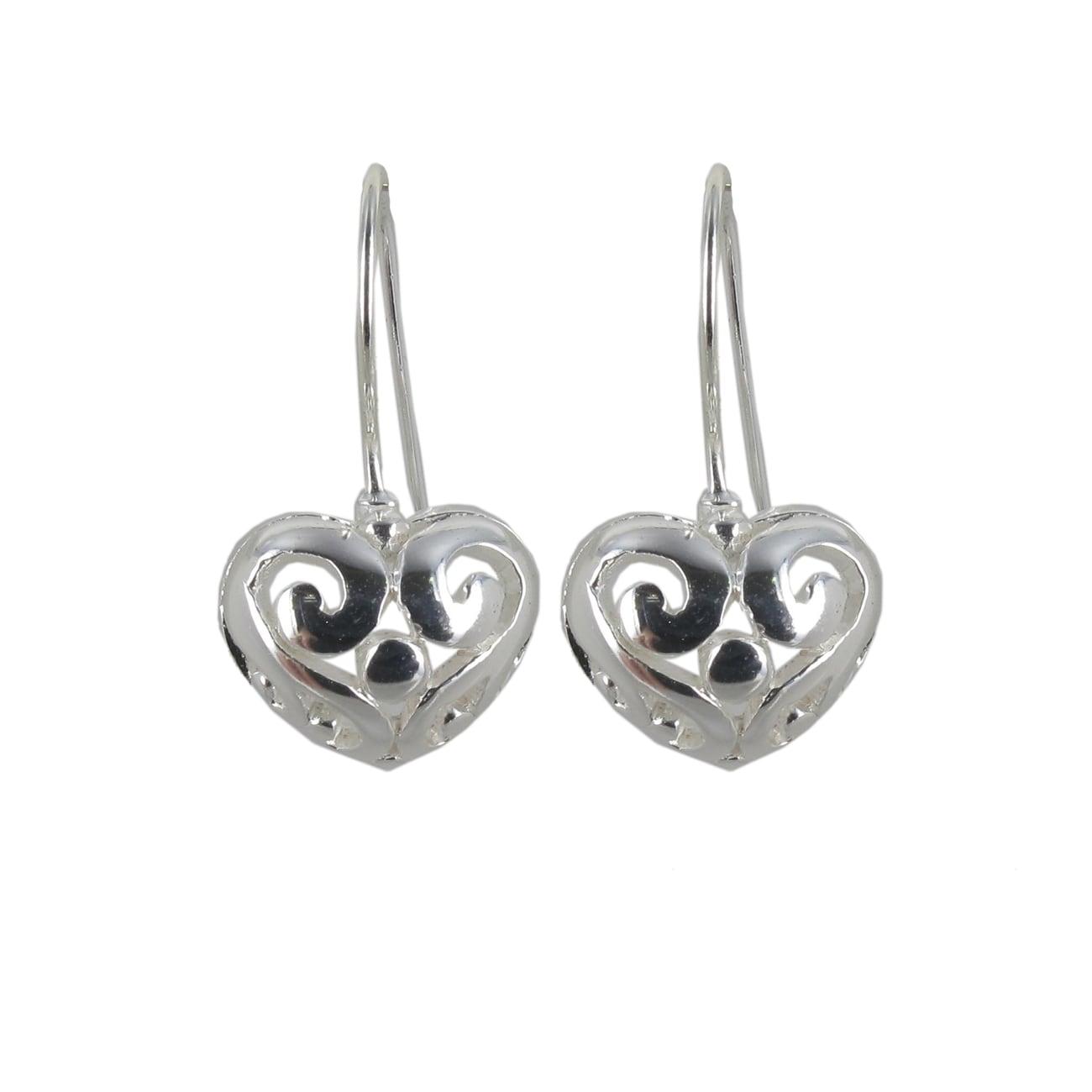 Sunstone Sterling Silver Puffy Heart Dangle Earrings