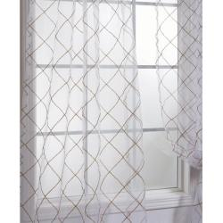 Exclusive Fabrics Lattice White Embroidered Organza 108-inch Sheer Curtain Panel