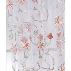 Exclusive Fabrics Marthas Bouquet White Embroidered Organza 108-inch Sheer Curtain Panel