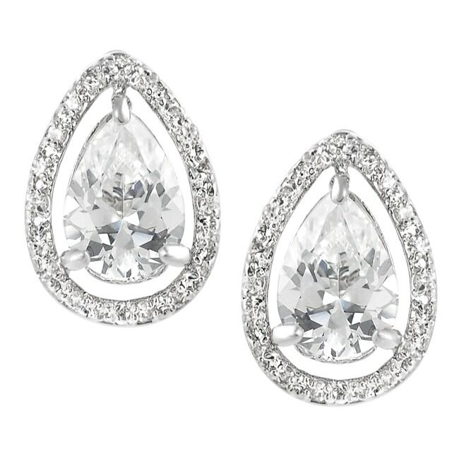 Journee Collection Silvertone Cubic Zirconia Teardrop Earrings