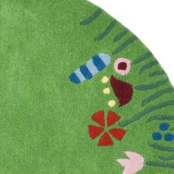 Safavieh Handmade Children's Summer Grass Green N. Z. Wool Rug (4' Round)