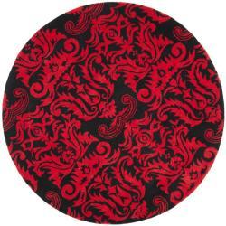 Safavieh Handmade New Zealand Wool Minna Black/ Red Rug (6' Round)