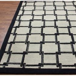 nuLOOM Handmade Ivory Trellis New Zealand Wool Rug (7'6 x 9'6) - Thumbnail 1
